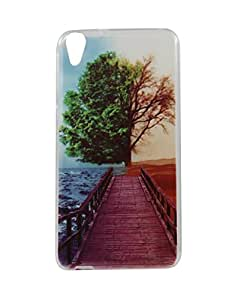 Exclusive Soft Silicone Back Case Cover For HTC Desire 820 - Tree On beach