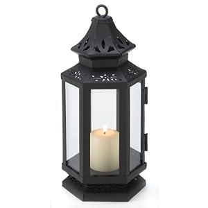 Black Stagecoach Hanging Lantern Candle Holder Decor