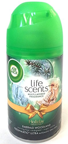 Air Wick Life Scents Automatic Air Freshener Spray Refill Emerald Woodland, Morning Frost, Evergreen, And Sugar Cookie, 6.17 Oz. Pack Of 4 Image
