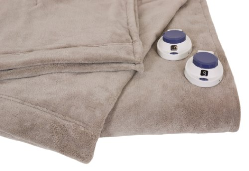 Serta Luxe Plush Low-Voltage Electric Heated Micro-Fleece Blanket, King, Topaz