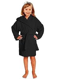 Towel Terry Bathrobe 100% Cotton Black Kids Hooded Robe Girls & Boys Size S / M