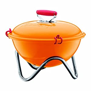 Bodum Fyrkat 13.4-Inch Portable Charcoal Grill, Orange (Discontinued by Manufacturer)