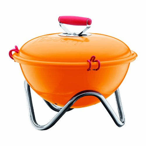 Bodum Fyrkat 13.4-Inch Portable Charcoal Grill, Orange