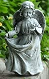 "14.5"" Religious Angel Holding Her Dress Outdoor Garden Bird Feeder Statue"