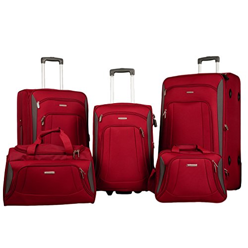 merax-newest-5-piece-softshell-deluxe-expandable-rolling-luggage-set-red-black