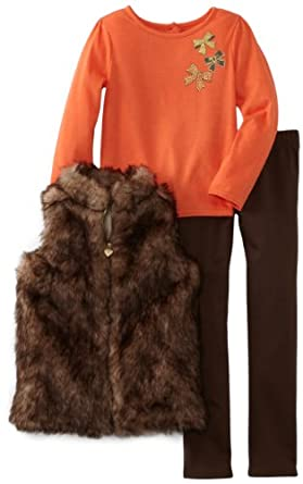 Young Hearts Girls 2-6X 3 Piece Bows Fur Vest Set, Brown, 2T