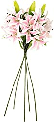 UberLyfe Real Touch and Look 4 Artificial Flower Tiger Lily Light Pink Thrill_5Bunch-FL-000631-LY-LPK5B4F