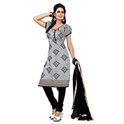 Gorgeous Grey & Black Coloured Embroidered Dress Material