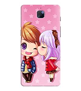 Printvisa Animated Girl And Boy In Love Back Case Cover for OnePlus 3::OnePlus Three