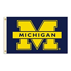 NCAA Michigan Wolverines 3-by-5 Foot Flag M Logo with Grommets by BSI