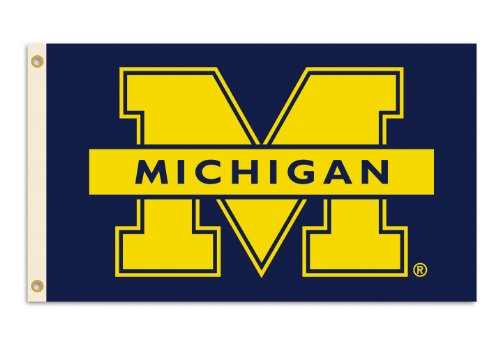Ncaa Michigan Wolverines 3-By-5 Foot Flag M Logo With Grommets front-609805