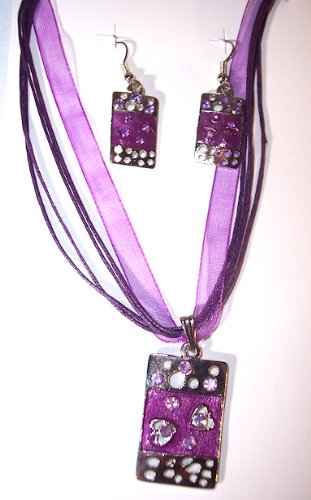 Silvertone with Purple Color Enamel Abstract Necklace and Earring Set Nickle Free