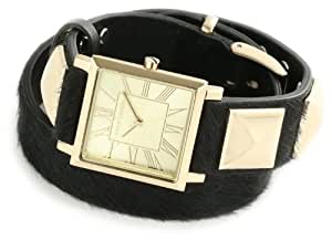 Vince Camuto Women's VC/5028CHBK Leather Square Gold-Tone Black Pony Hair Double-Wrap Strap Watch