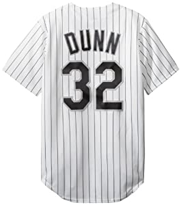 MLB Chicago White Sox Adam Dunn Home Replica Baseball Jersey, White Black by Majestic