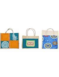Cristal Bags Jute Shopping Bags (Pack Of 3, Jute-712)