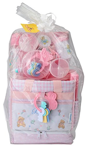 Big Oshi Diaper Bag Baby Gift Set, 16 Piece - Filled With Everything You Need For Baby On The Go - Sandwich Box Included - Pink - 1