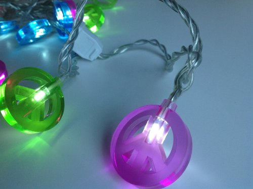 Dci Peace Sign Light Chain 15 Led Lights Multicolored