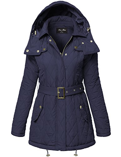 Warm Waist Belted Quilted Padding Hood Jackets,133-Dark Navy,Large
