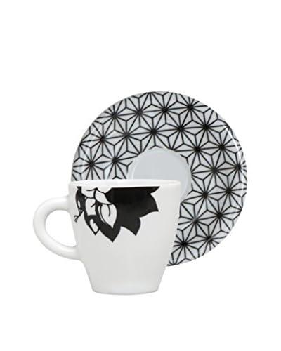 Molecuisine Kaffeetasse mit Untertasse 4er Set Magatama weiß/schwarz