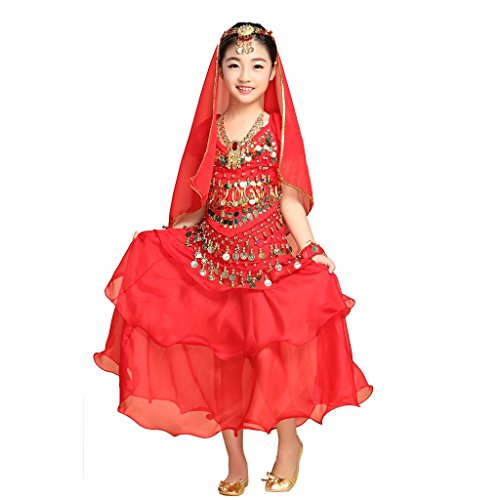 Pilot-trade Kid Children Belly Dance Costume ,3 Layers Skirt ,Hip Scarf Sets