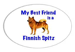 .com: My Best Friend is Finnish Spitz Oval Sticker: Home & Kitchen