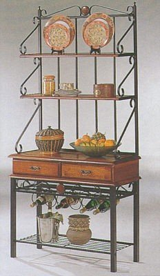 Coaster Dirty Oak Finish Metal & Wood Baker'S Kitchen Rack W/Drawers back-904162