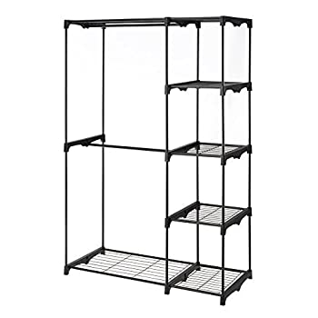Whitmor Freestanding Portable Closet Organizer – Heavy Duty Black Steel Frame - Double Rod Wardrobe Cloths Storage With 5 Shelves & Shoe Rack for Home or Office – Size: 45-1/4 x 19-1/4 x 68""