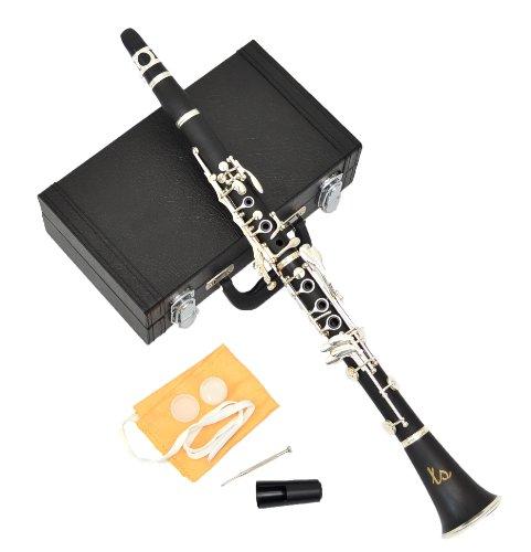 Ts-Ideen 6115 Böhm System Bb Klarinette mit 17 versilberten Klappen, versilberter Mechanik im Kunstlederkoffer mit Zubehör