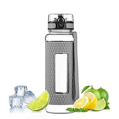 MAIGG Beste Fruit Infuser Wasserflasche BPA frei, 1000ml & 500ml, Sport Yoga-Flasche für Trinken, auslaufsicher , ideal für Wandern und Freizeit - Tritan Wasserflasche mit Silikonhülle , Fast Water Flow, Top Flip, Öffnet mit 1-Click - Wiederverwendbare mi