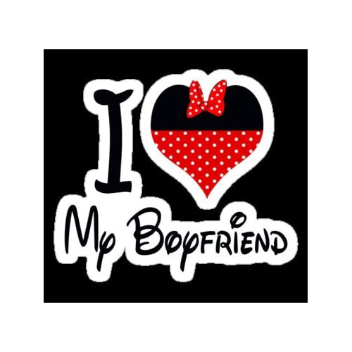 ": Minnie Mouse Disney I Love My Boyfriend Dope Swag Funny 4"" Sticker"