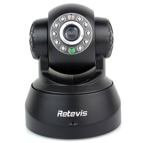 Super Offer!!!Retevis Rt3815W P2P Wireless Pan/Tilt/ Night Vision Home Security Surveillance Built-In Microphonedetect Motion Two-Way Audio Mobile Browsing Ptz Ip Camera Black