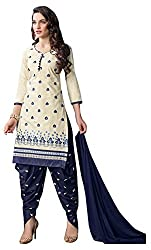 Baby doll 22 Women's Cotton Unstitched Dress Material (Off-White and Blue)