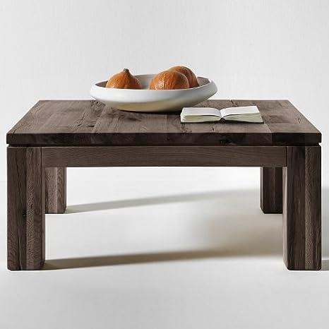 SalesFever-Mesa de madera maciza de Zora 90x 90cm de roble White Wash