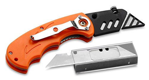 Folding Utility Knife Set - Includes 5 Replacement Utility Blades - Plastic Cover For Sharp Edge - Ideal For Cardboard,