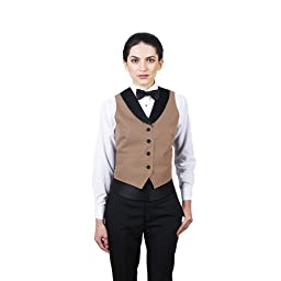 Women's Tan Full Back Tuxedo Vest with Black Lapel Large