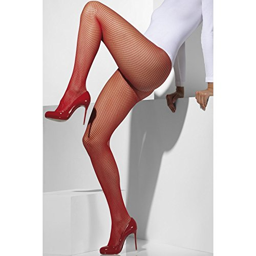 Fever Women's Fishnet Tights In Display Box, Red, One Size