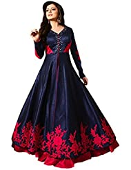 Aika Women's Banglori Silk Fabric Embroidered Dress In Blue Color(Free Size)