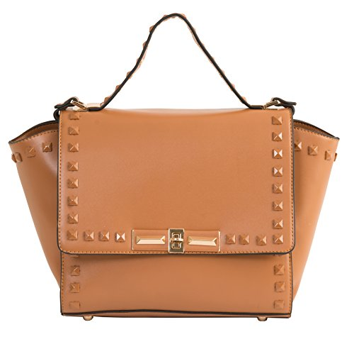 Beaute Bags Studded Medium Shopper Handbag Vegan Leather (Cognac) (Miel Hand Bag compare prices)
