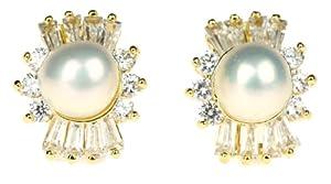 Honeystore Frauen's Legierung Perle Zirconia Ohrstecker Set Farbe Weiß