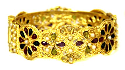 BombayFashions 22kt GoldPlated Multicolor Polki