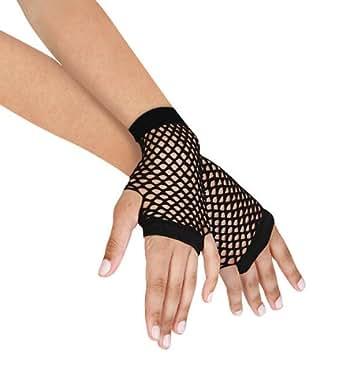 Leegoal Sexy Punk Short Fishnet Fingerless Mesh Gloves, Black