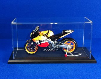 1/12th Scale Motorbike Display Case with a Wooden Base