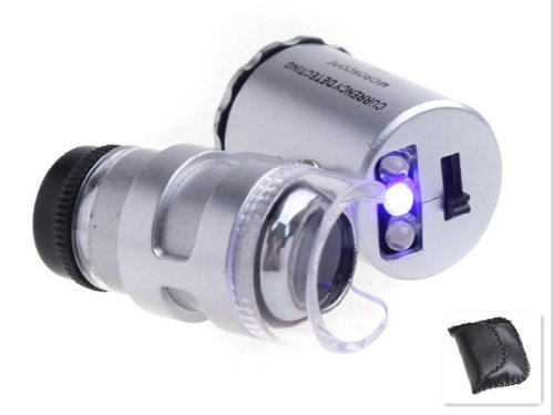 60X Pocket Magnifier Microscope Loupe Led Uv Currency Detector