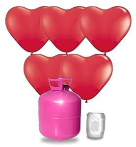 Helium Ballongas Set mit 55 roten Herz-Luftballons, Ballonband und Heliumflasche
