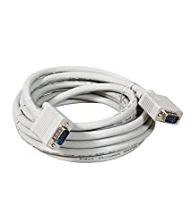 SuperShopperIndia VGA 15 pin Male to Male Double Ferrite Cable 3M 9ft for Projectors Computers - White