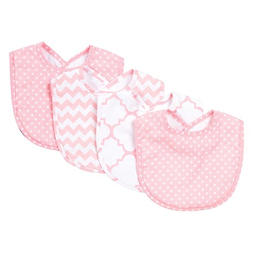Trend Lab Sky 4 Pack Bib Set, Pink
