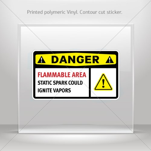 Decal Sticker Danger Flammable Area Static Spark Could Ignite Vapors Store Weatherproof 0800 X42W8 front-538228