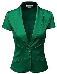 Doublju Women Short Sleeve Cotton Span Satin Fabric Blazer