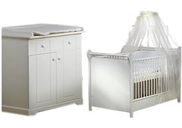 Schardt 08 971 52 02 - Kinderzimmer Felice, bestehend aus Kombi-Kinderbett 70 x 140 cm, Umbauseitensatz und Wickelkommode, weiß (ohne Textilien)