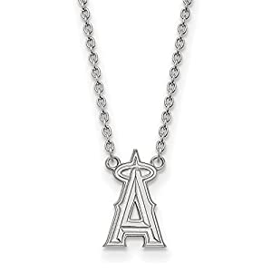 Sterling Silver MLB Los Angeles Angels Team Logo Large Pendant Necklace - 18 inches